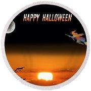 Dark Night Halloween Card Round Beach Towel