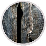 Dark Old Wooden Boards With Shadow Round Beach Towel