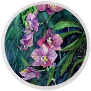 Dark Orchid Round Beach Towel