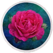 Dark Pink Rose Round Beach Towel