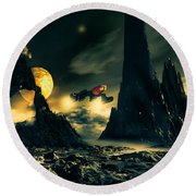Dark Planet Round Beach Towel