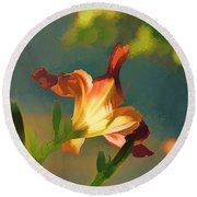 Dark Red Day Lily With Sun Shining Through I Abstract I Round Beach Towel