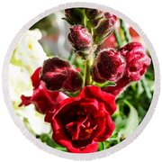 Dark Red Fancy Snapdragon Round Beach Towel