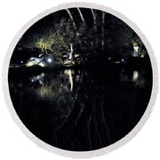 Dark Reflections Round Beach Towel