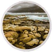Dark Skies On Ocean Shores Round Beach Towel