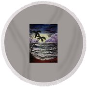 Dark Storm Approaching Round Beach Towel