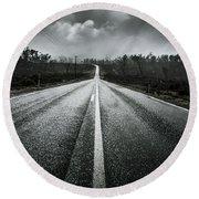 Dark Stormy Road To Cradle Mountain In Tasmania Round Beach Towel