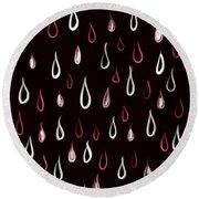 Dark White And Red Raindrops Pattern Round Beach Towel