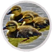 Darling Ducks Round Beach Towel