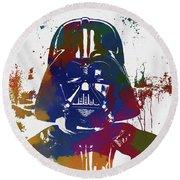 Darth Vader Paint Splatter Round Beach Towel
