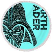 Darth Vader - Star Wars Art - Blue Round Beach Towel