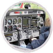 Dashboard Of A Robin Dr400 President Round Beach Towel