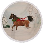 Dashing Thru The Snow Round Beach Towel