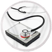 Data Recovery Stethoscope And Hard Drive Disc Round Beach Towel