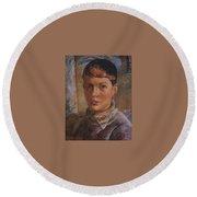 Daughter Of The Artist 1933 Kuzma Sergeevich Petrov-vodkin Round Beach Towel