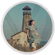 Daughter Of The Lighthouse Keeper Round Beach Towel