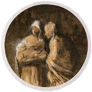 Daumier: Virgin & Child Round Beach Towel