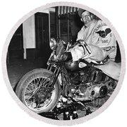 Dave On A Harley Tulare Raiders Mc Hollister Calif. July 4 1947 Round Beach Towel
