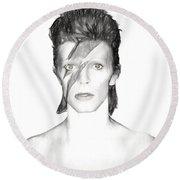 David Bowie Charcoal  Round Beach Towel