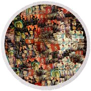 David Bowie Collage Mosaic Round Beach Towel