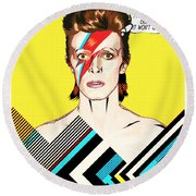 David Bowie Pop Art Round Beach Towel