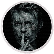 David Bowie Text Portrait - Typographic Poster With Album Titles And Background With Songs Names Round Beach Towel