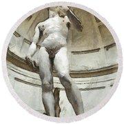 David By Michelangelo Pencil Round Beach Towel