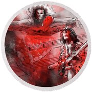 David Lee Roth And Eddie Van Halen Jump Round Beach Towel