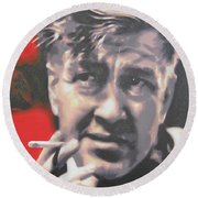 David Lynch Round Beach Towel by Luis Ludzska