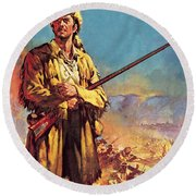 Davy Crockett  Hero Of The Alamo Round Beach Towel