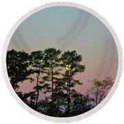 Dawn And Moon Setting - Virginia Round Beach Towel