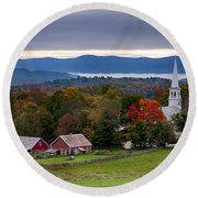 dawn arrives at sleepy Peacham Vermont Round Beach Towel
