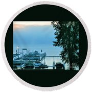 Dawn At Bay Colony Round Beach Towel