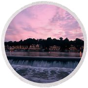 Dawn At Boathouse Row Round Beach Towel