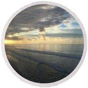 Dawn At Folly Beach Round Beach Towel