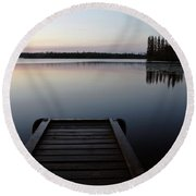 Dawn At Lynx Lake In Northern Saskatchewan Round Beach Towel