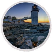 Dawn At Marshall Point Round Beach Towel