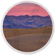 Dawn At Mesquite Flat #3 - Death Valley Round Beach Towel