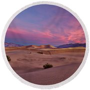 Dawn At Mesquite Flats #2 - Death Valley Round Beach Towel