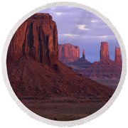 Dawn At Monument Valley Round Beach Towel