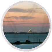 Dawn At The Sunshine Skyway Bridge Viewed From Tierra Verde Florida Round Beach Towel