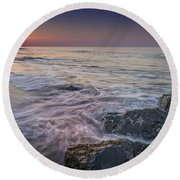 Dawn Breaks At Cape May Round Beach Towel