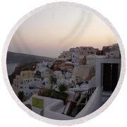 Dawn In Oia Santorini Greece Round Beach Towel