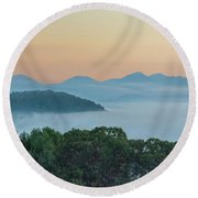 Dawn In The Smokies Round Beach Towel