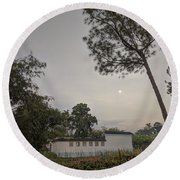 Dawn Moon Over Chinese Garden Singapore Round Beach Towel
