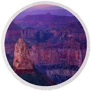 Dawn Mount Hayden Sunrise North Rim Grand Canyon Arizona Round Beach Towel by Dave Welling