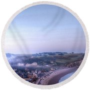 Dawn Of Etretat Round Beach Towel