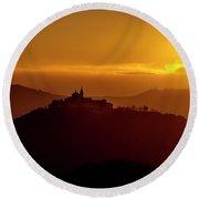 Dawn On Guardia Genova Sanctuary From Alta Via Dei Monti Liguri Round Beach Towel