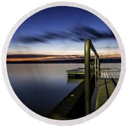 Dawn On Skaneateles Lake Round Beach Towel