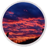 Dawn On The Farm Round Beach Towel